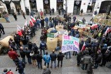 Protest rolników z Agrounii na Nowym Świecie w Warszawie.