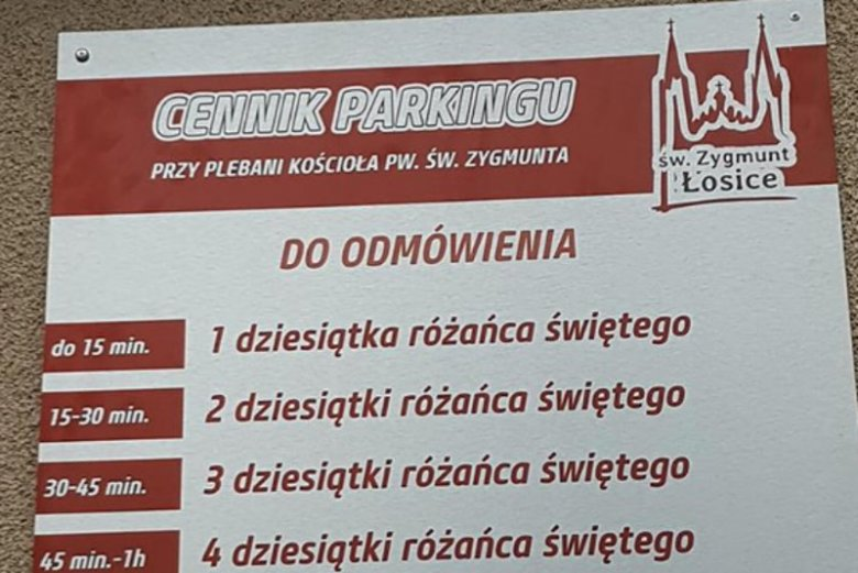 Oryginalny cennik za parkowanie na terenie parafii.