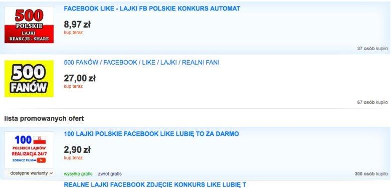 100 lajków na Facebooku kosztuje przeważnie około 3 zł