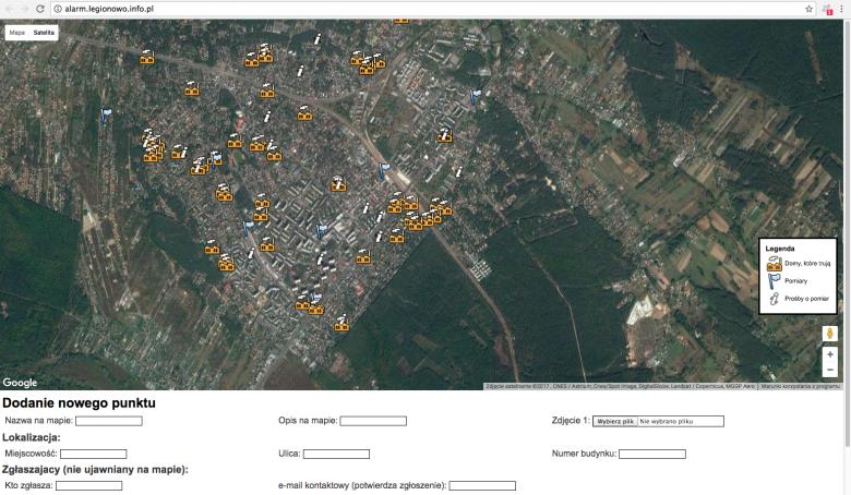 Mapa działa w oparciu o Google Maps, i każdy może dodać na niej truciciela, którego zaobserwował.