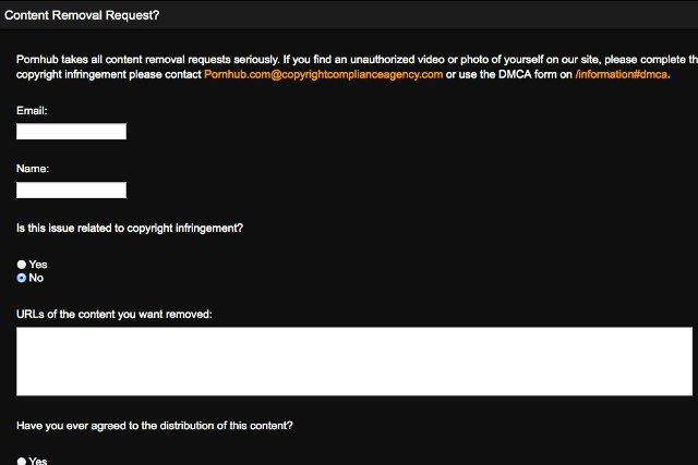Fragment nowego formularza zgłaszania naruszeń, który przygotował portal Pornhub