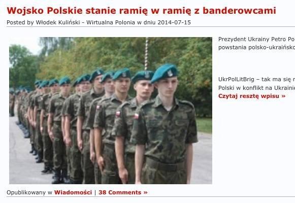 Wirtualna Polonia powiela informacje, że wojska polskie są obecne na Ukrainie