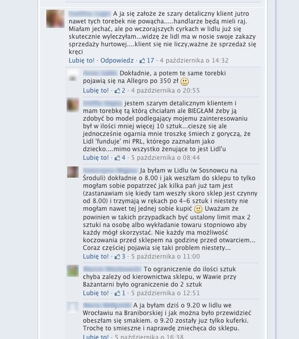 Na profilu Lidl Polska pojawiło się wiele negatywnych komentarzy dotyczących sprzedaży toreb Wittchen.