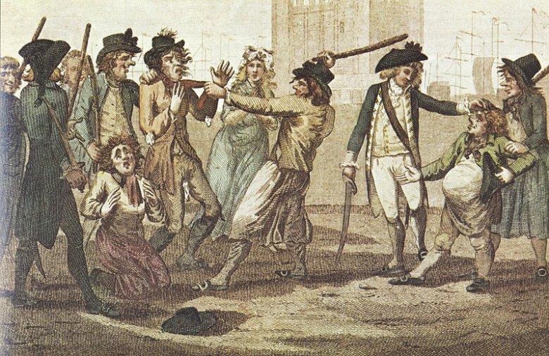 Podpis – Press gang. Karykatura z 1780 roku. Autor nieznany