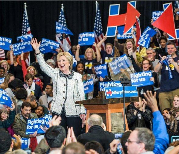 """""""Fighting for us"""" to hasło kampanii wyborczej Hillary Clinton"""