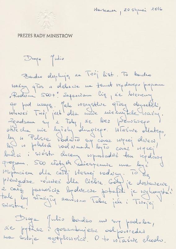 List premier Beaty Szydło do 9-letniej Julii.