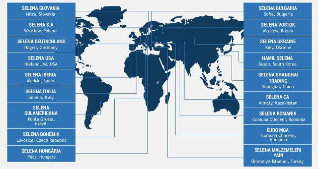 Międzynarodowy zasięg Grupy [url=http://www.selena.com/pl/]Selena.com[/url]
