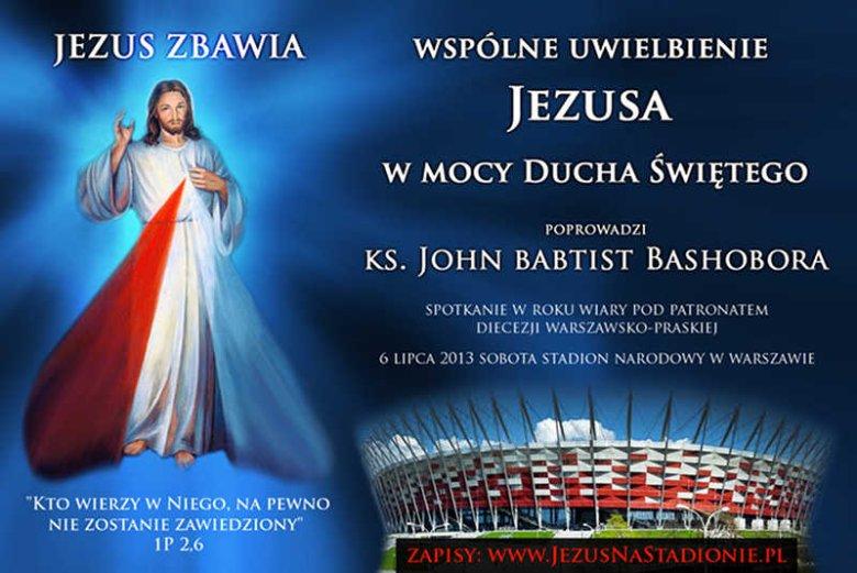 Bilbord reklamujący spotkanie 6 lipca 2013 roku z uzdrowicielem na Stadionie Narodowym w Warszawie.