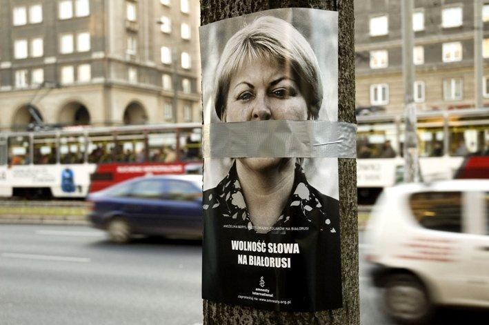 Wolność słowa na Białorusi/ Amnesty International foto. Andrzej Georgiew