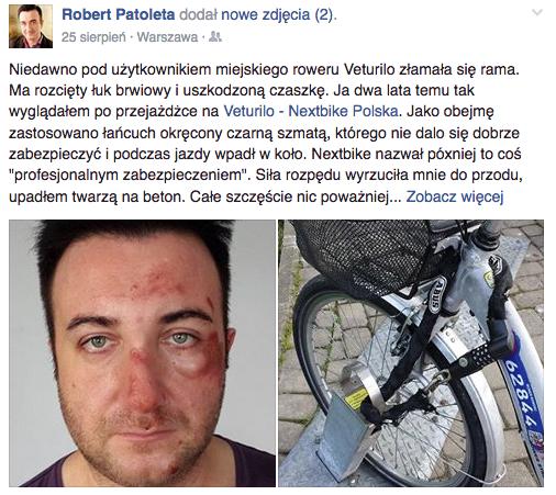 Dwa lata temu podobny wypadek na rowerze Veturilo miał dziennikarz lifestylowy, Robert Patoleta.