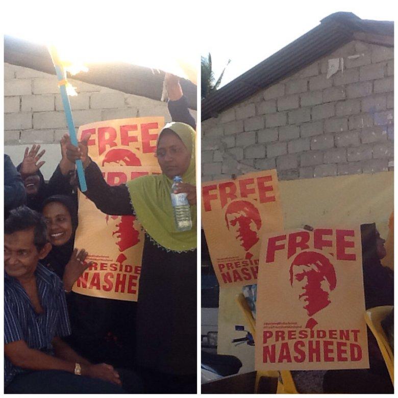 """""""Uwolnić Prezydenta Nasheeda,"""" - pokojowe wiece w sprawie uwolnienia byłego prezydenta Malediwów, tego dnia odbywały się na w wielu miasteczkach i wioskach Malediwów"""