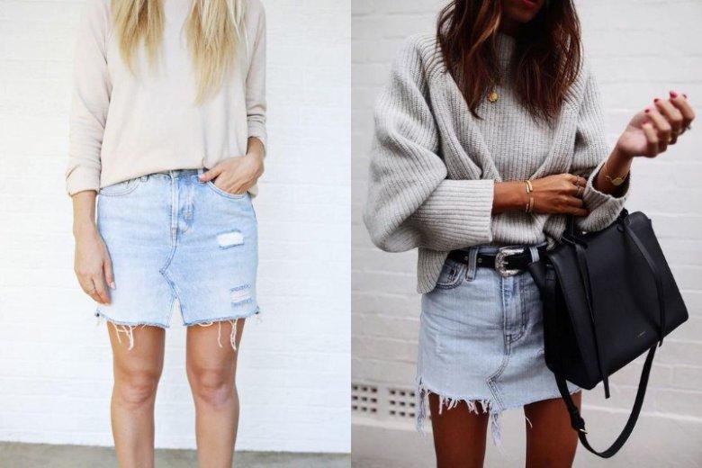 Jeansową spódnicę zestaw z grubszym swetrem