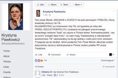 Krystyna Pawłowicz moderację Facebooka uważa za celowe ataki.