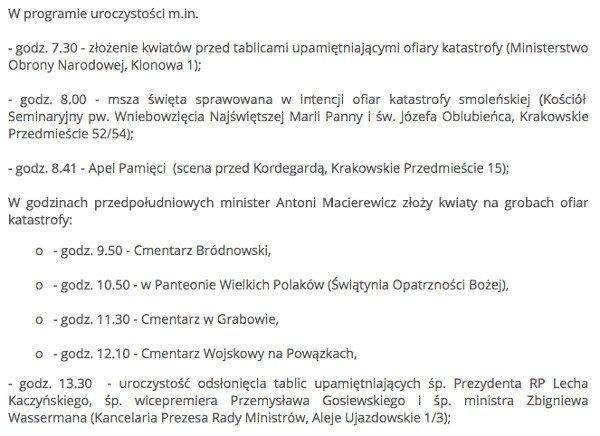 To tylko fragment planów ministra Macierewicza na 10.04.17.