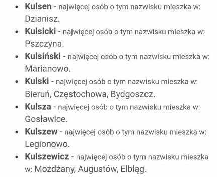 Lista nazwisk, od których mógł powstać Kulson.