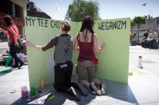 Zdjęcie pochodzi z happeningu podczas Tygodnia Weganizmu w Bielsku - Białej.