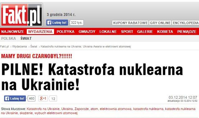 Oryginalny nagłówek w portalu Fakt.pl, 3 grudnia.