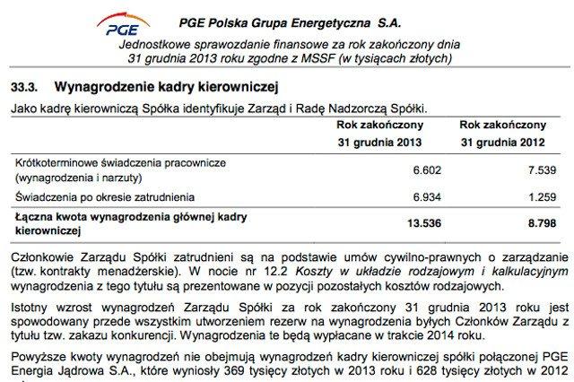 Za ubiegły rok PGE wypłaci rekordowe kwoty swoim menedżerom.
