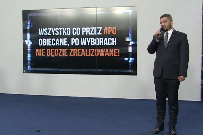 Prawo i Sprawiedliwość pokazało na konferencji prasowej nowy spot wyborczy, którym bije w opozycję.