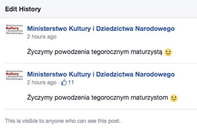 """Ministerstwo Kultury i Dziedzictwa Narodowego zaliczyło sporą wpadkę językową. Okazało się, iż w resorcie prof. Piotra Glińskiego nie potrafią odmienić słowa """"maturzyści""""."""