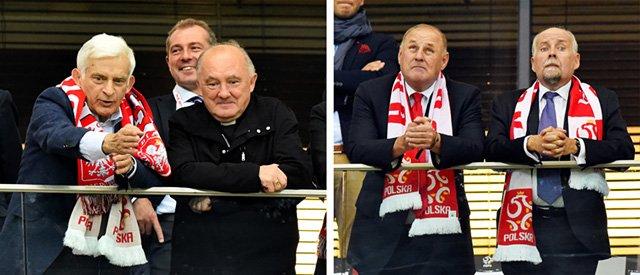 Jerzy Buzek i arcybiskup Kazimierz Nycz oraz Andrzej Person i Jan Tomaszewski