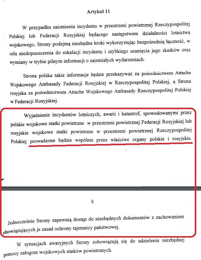 art. 11 Porozumienia między Ministerstwem Obrony Narodowej RP a Ministerstwem Obrony Narodowej Federacji Rosyjskiej w sprawie zasad wzajemnego ruchu lotniczego wojskowych statków powietrznych RP i FR w przestrzeni powietrznej obu państw