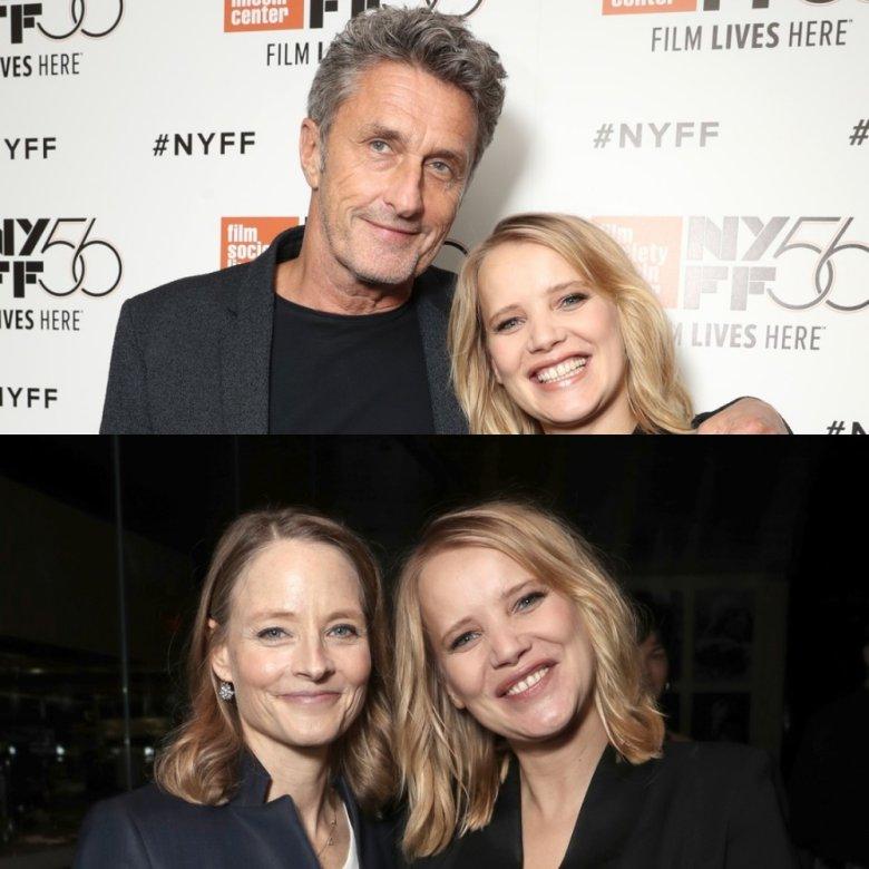 Joanna chętnie pozowała zarówno z reżyserem filmu Pawłem Pawlikowskim oraz gwiazdą kina - Jodie Foster