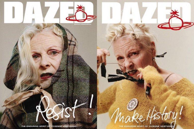 """Vivienne Wood nie udaje kogoś, kim nie jest. Punkowy duch projektantki uwydatnia się na kilku okładkach magazynu """"Dazed"""" nawet teraz, gdy ma już 77 lat."""