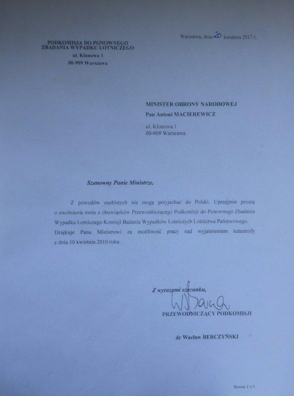 Dr Berczyński tłumaczy, że nie może przyjechać do Polski, a list pisze z Warszawy z ulicy Klonowej?!