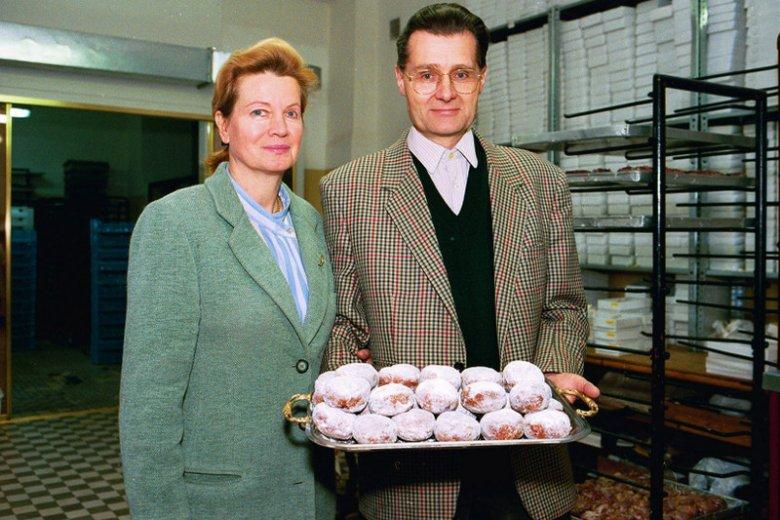 Andrzej Blikle wraz z żoną w 1993 roku.
