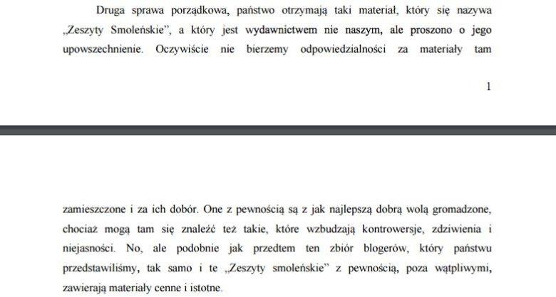 Zespół Macierewicza, 22 września 2010 r. Fragment wystąpienia przewodniczącego.
