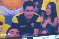 Kiss Cam przyłapał niewiernego męża na meczu ekwadorskiej Barcelony.