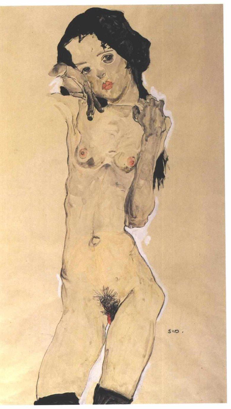 Egon Schiele, Szwarzhaariges Mädchenakt, stehend, 1910