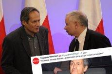 Na zdjęciu znany mężczyzna o prawicowych poglądach oraz jego idol Jerzy Zelnik.