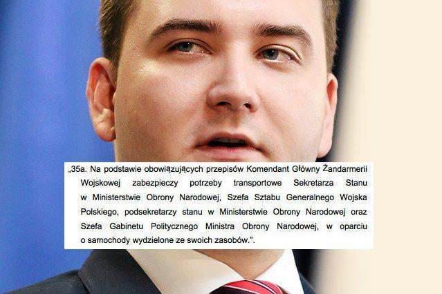 Bartłomiej Misiewicz ma prawo poruszać się limuzyną. Zadbał o to sam Antoni Macierewicz.