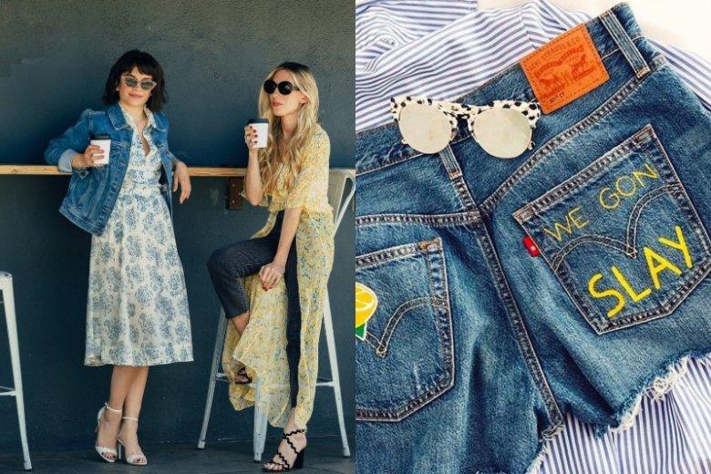Kurtka jeansowa i denimowe szorty z ozdobami zawsze dobrze sprawdzą się podczas festiwali
