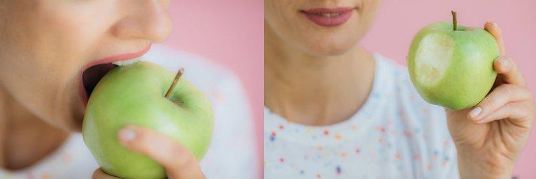 Po zjedzeniu jabłka makijaż wymagał poprawek, ale zdecydowanie kosmetycznych.