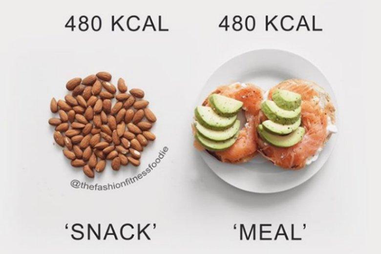 Czasem mała przekąska, którą często się nie najadamy, może mieć tyle samo kalorii, co pełnowartościowy, lekki posiłek, który zaspokoi głód na dłużej
