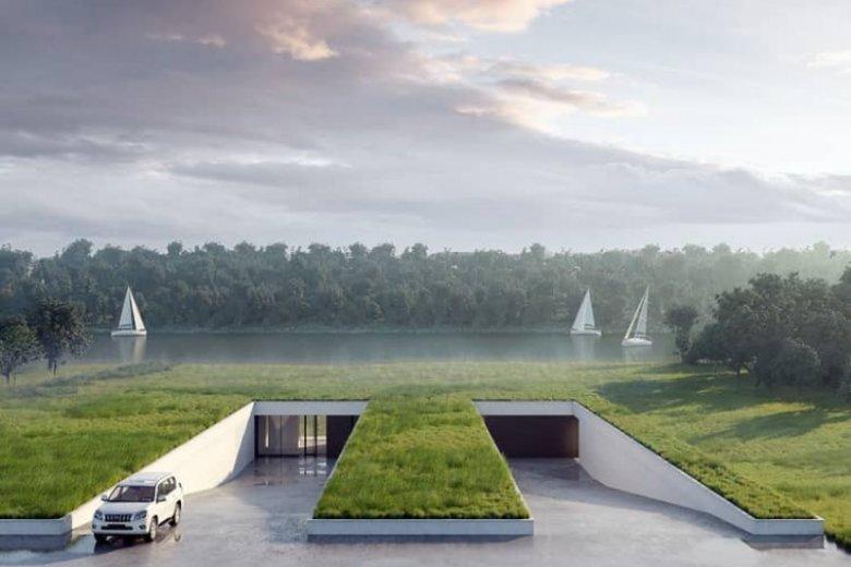 Dom na Łące to wyjątkowy projekt budynku, który nie tylko nie niszczy otoczenia, ale wtapia się w nie tak, że trudno go dostrzec