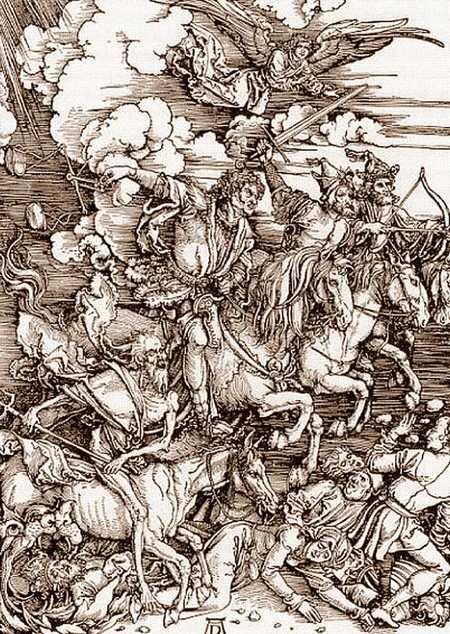 """Albrecht Dürer: """"Jeźdźcy Apokalipsy z Apocalypsis cum figuris"""",  drzeworyt, 1497–98."""