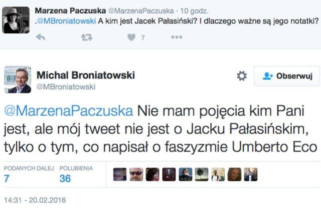 """Michał Broniatowski z """"Forbesa"""" przytacza słowa Eco o faszyzmie."""