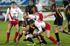 Polscy rugbyści w meczu z Niemcami