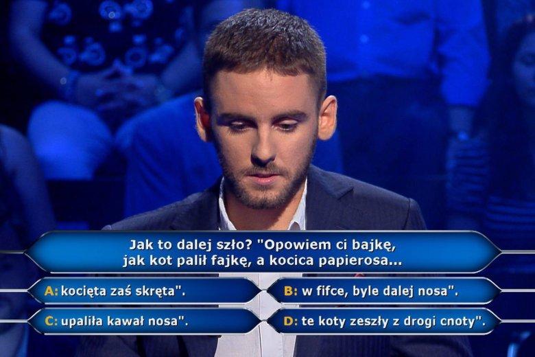 Pan Remigiusz nie wiedział, jaka jest odpowiedźna pytanie za 1000 zł.