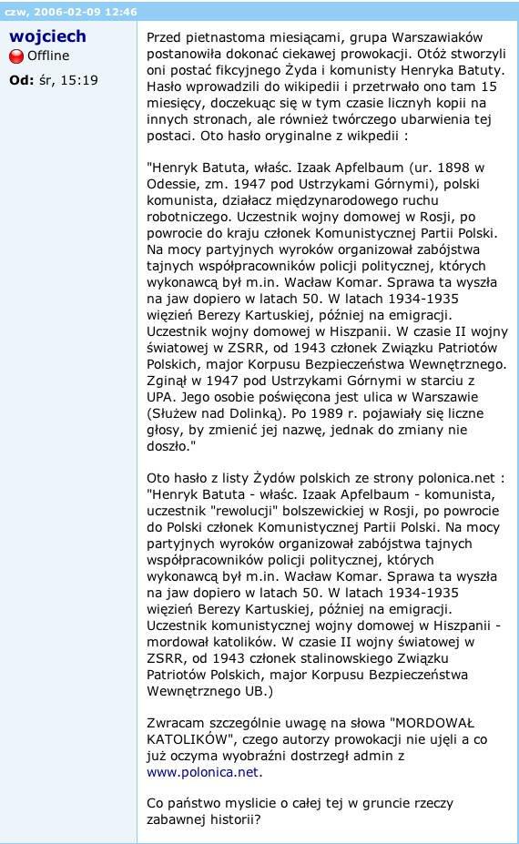 Losy fikcyjnej postaci polskiego komunisty - komentarz na forum.