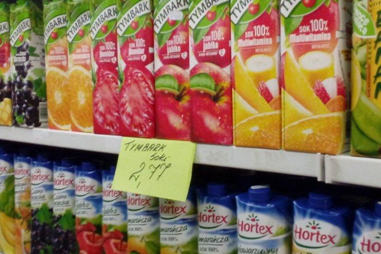 Cena soków też jest zupełnie inna.