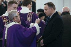 Andrzej Duda podczas mszy pogrzebowej zamordowanego prezydenta Gdańska Pawła Adamowicza.