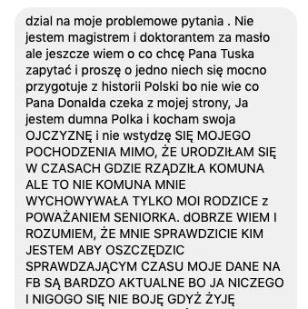 Jedna z wiadomości wysłanych do organizatorów wykładu Donalda Tuska.