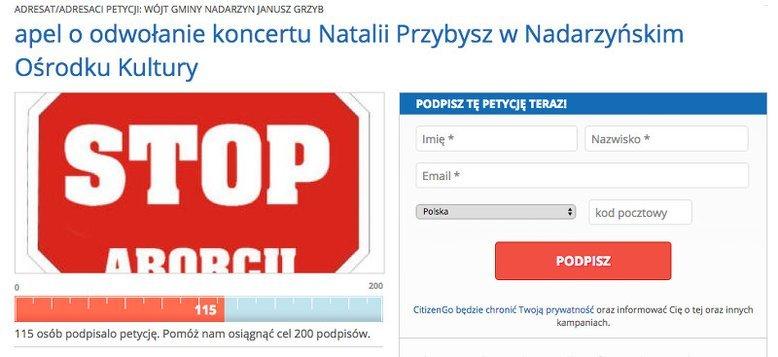 Jeden z mieszkańców Nadarzyna rozpoczął zbiórkę podpisów pod wnioskiem o odwołanie koncertu Natalii Przybysz w NOK.