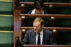 Premier Donald Tusk i minister Joanna Mucha w Sejmie