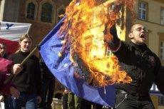 Protest przeciwko wstąpieniu Polski do Unii Europejskiej we Wrocławiu (2003).